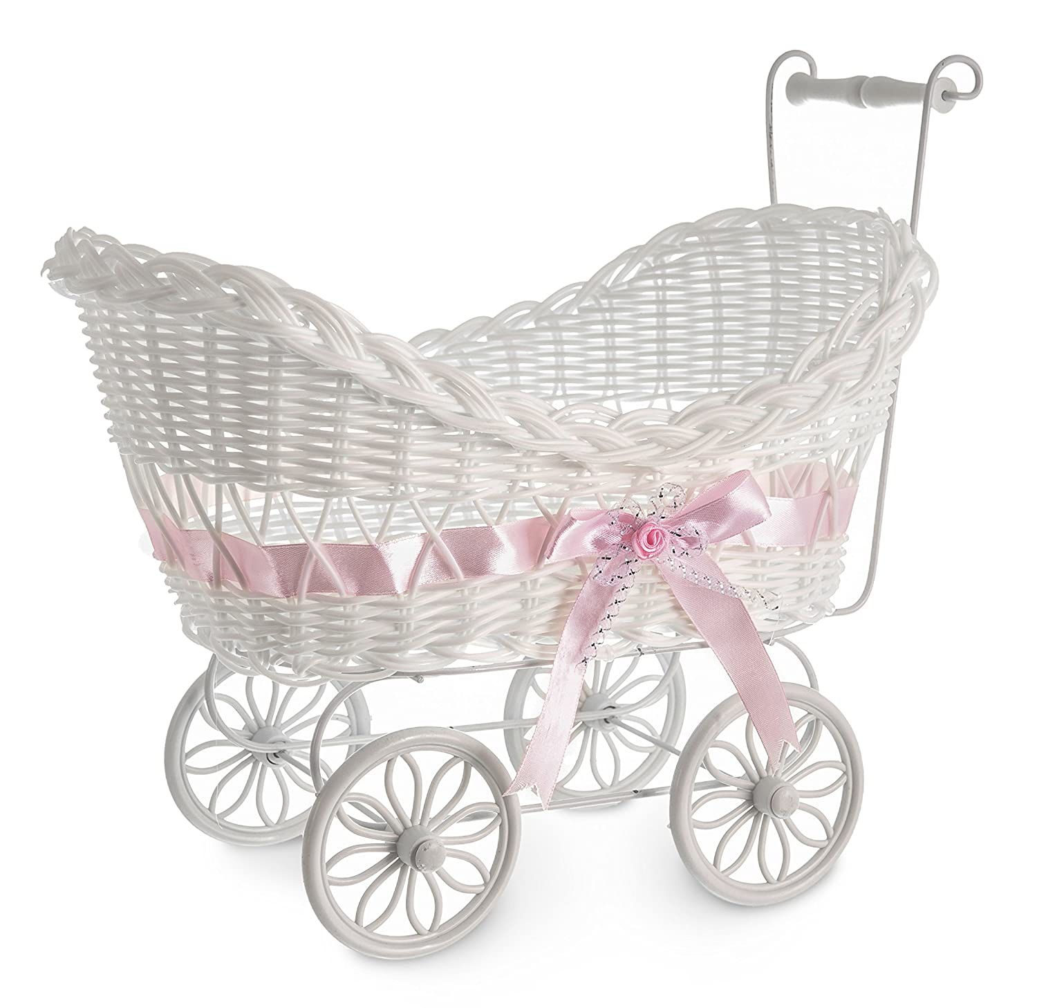 LIVIVO White Baby Pram Wicker Hamper Basket with Handles, Wheels and Colourful Satin Ribbon Bow - Perfect for Baby Showers or Newborn Baby Gifts - Beautiful and Stylish Multipurpose Baskets can also be used for Storage or Decoration in Any Room in the Hom