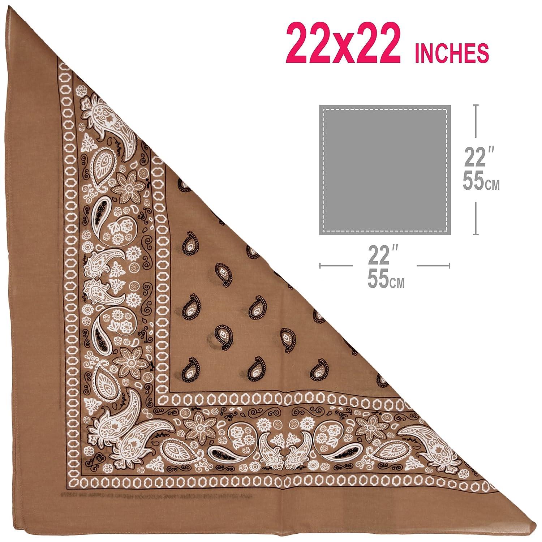 Basico 100/% Cotton Head Wrap Bandana 12 Pack 22x22 **Various Colors ** B Brown Paisley