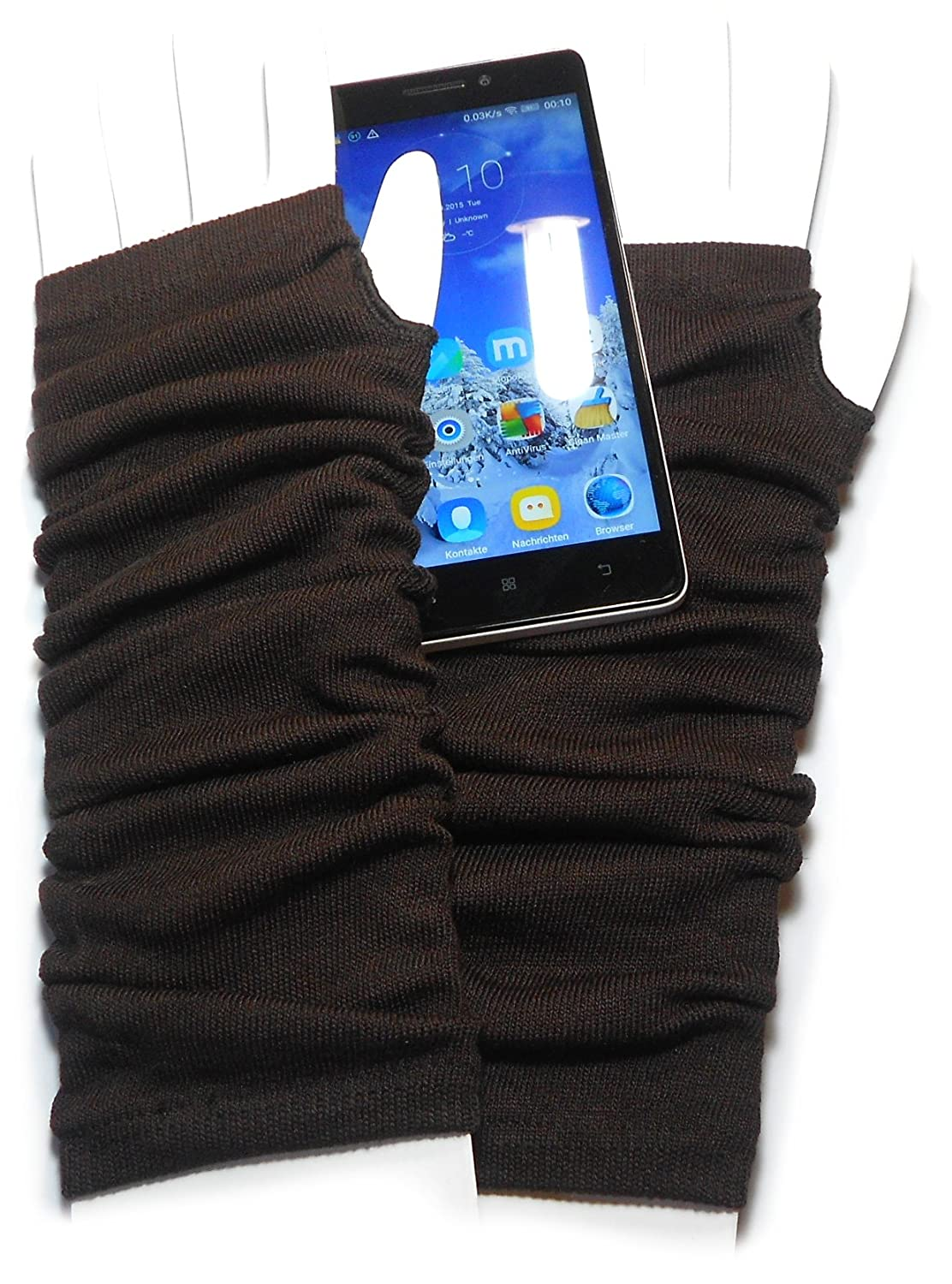 PRESKIN - Stylish Cuff gloves, Cool - but warm, Gloves long, for more tact for Smartphone's, Navi, Tablet ... GloveUniBlack