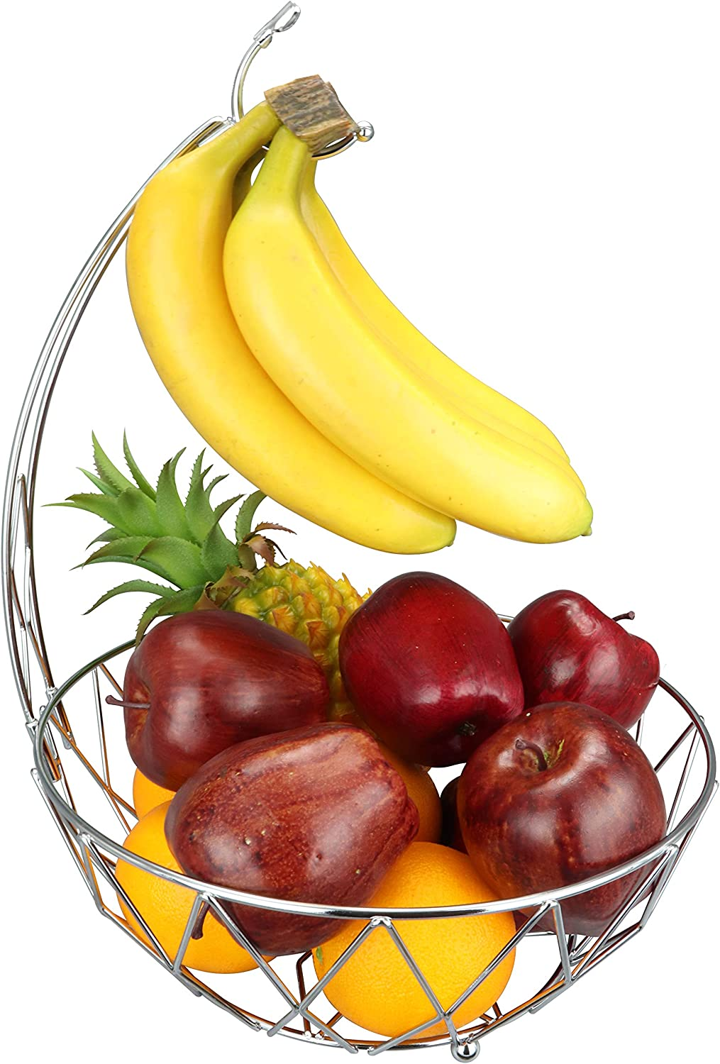 RosyLine Fruit Basket Banana holder, Elegant Fruit Bowl with Banana Tree Hanger (silver)