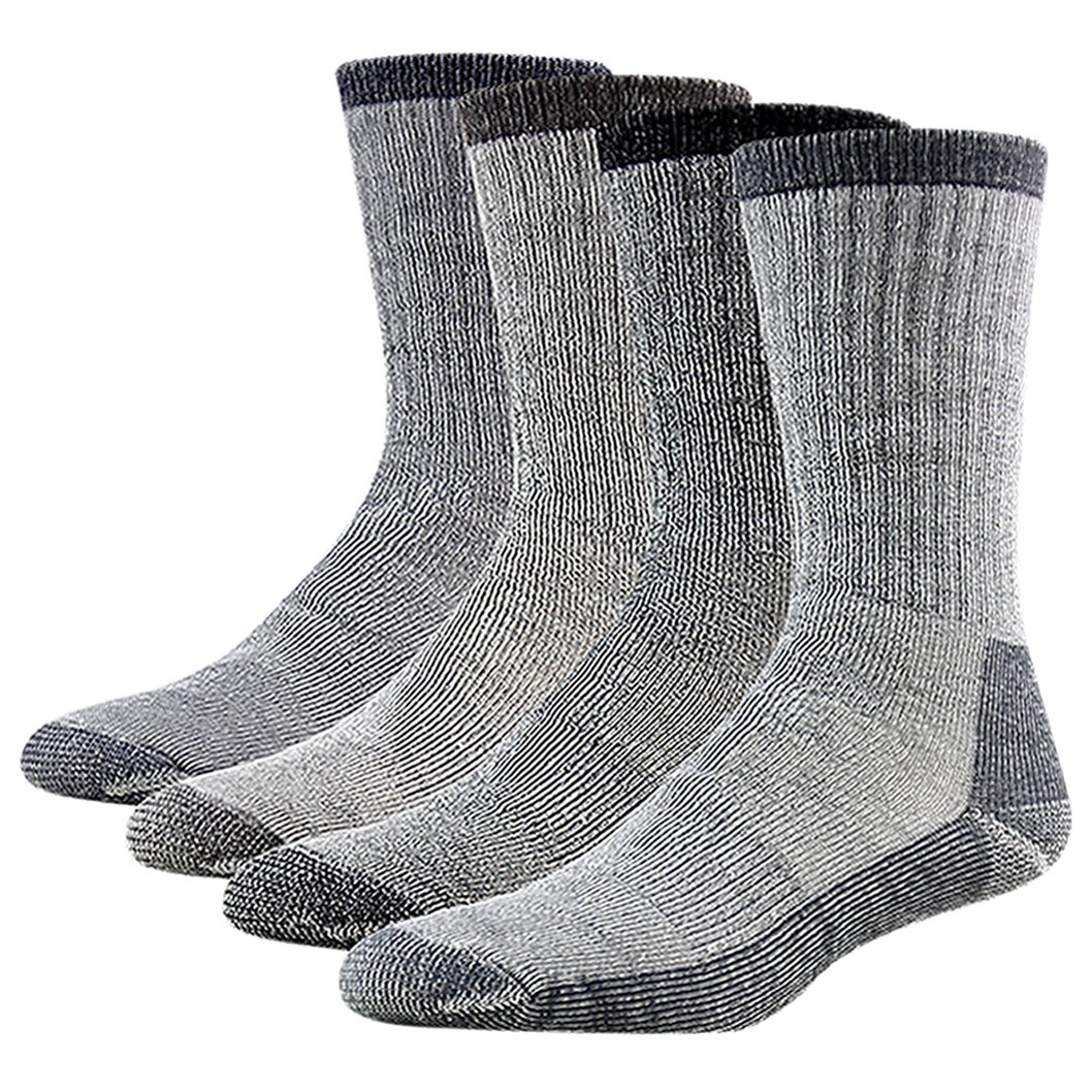 Men's Warm Winter Socks, RTZAT Women's Full Thickness Thermal Warm Indoor House Slipper Outdoor Thermal Boot Socks Medium 2 Black, 2 Brown