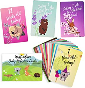 Baby Milestone Cards – 30 Unisex Baby Milestone Cards Including Your Babies Key Moments – Beautifully Designed Australian Animal Cards - Perfect & Unique Baby Gift by Rupert & Friends