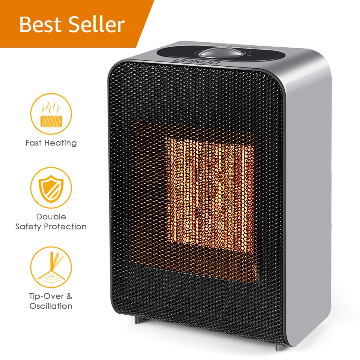 Ceramic Space Heater, 1500W Fast Heat Portable Electric Space Heater with 2s Quick Heating PTC Plate, Overheat & Tip-Over Protection for Office Small Room Desk VANTAKOOL