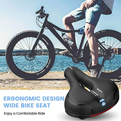 City and Mountain Bike Saddle Seat Memory Foam Waterproof Wide with Dual Shock Absorbing Rubber Balls and Reflective Strip