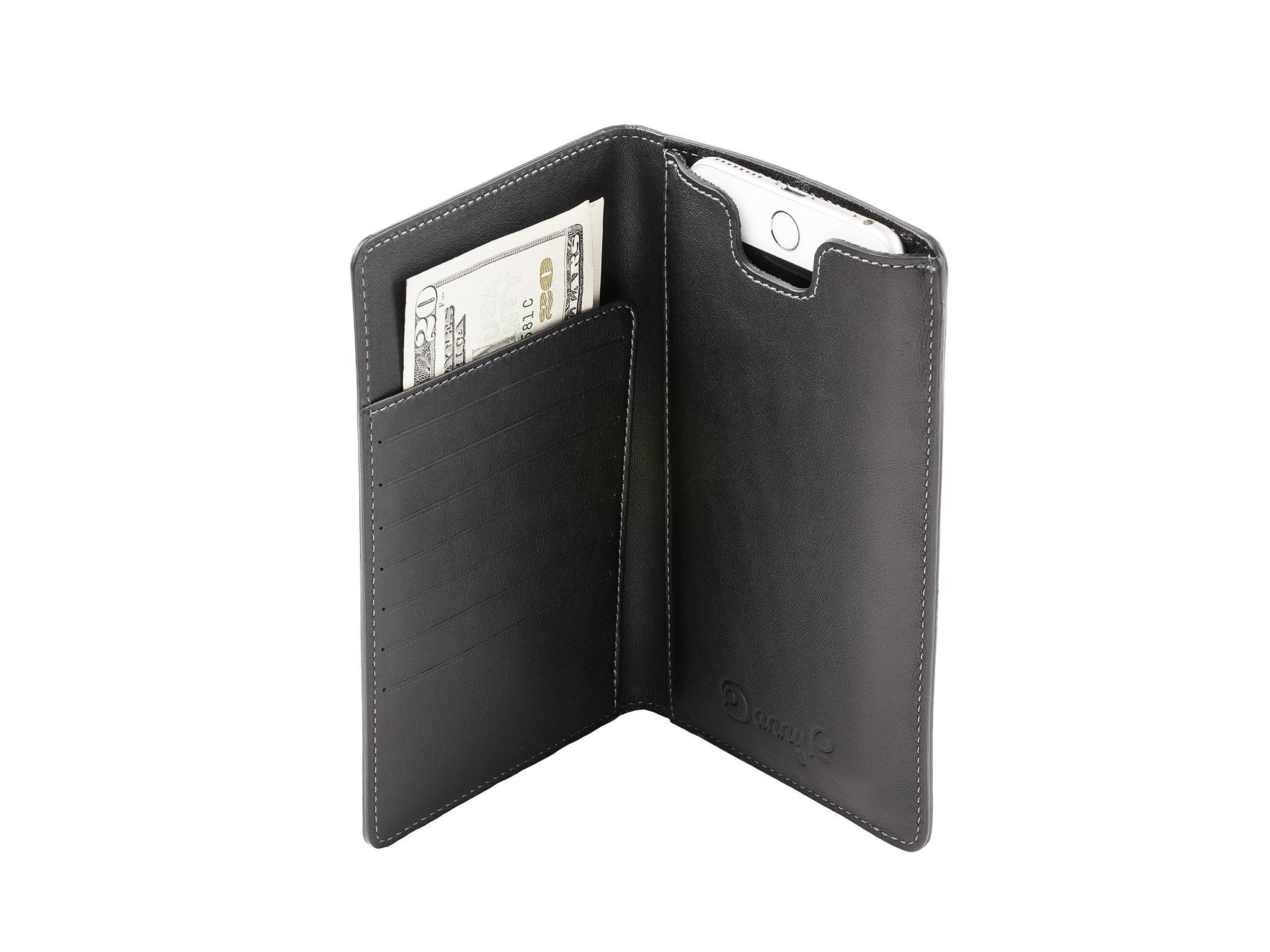 Leather wallet with iPhone 6/6s/7 Plus case by Danny P. (Black)