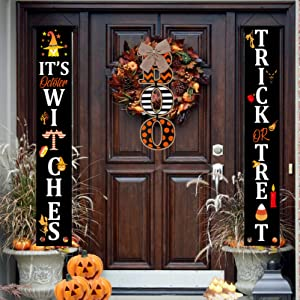 Halloween Party Decorations Banner Clearance - 3 Pack Door Party Sign for Outdoor & Indoor - Halloween Signs - It's October Witches & Trick Or Treat Yard Decor gift, Cute Wreaths For Front Outside