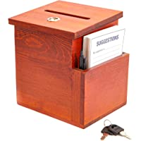 Juvale Wooden Suggestion Box with Cards (Brown, 50 Suggestion Cards)
