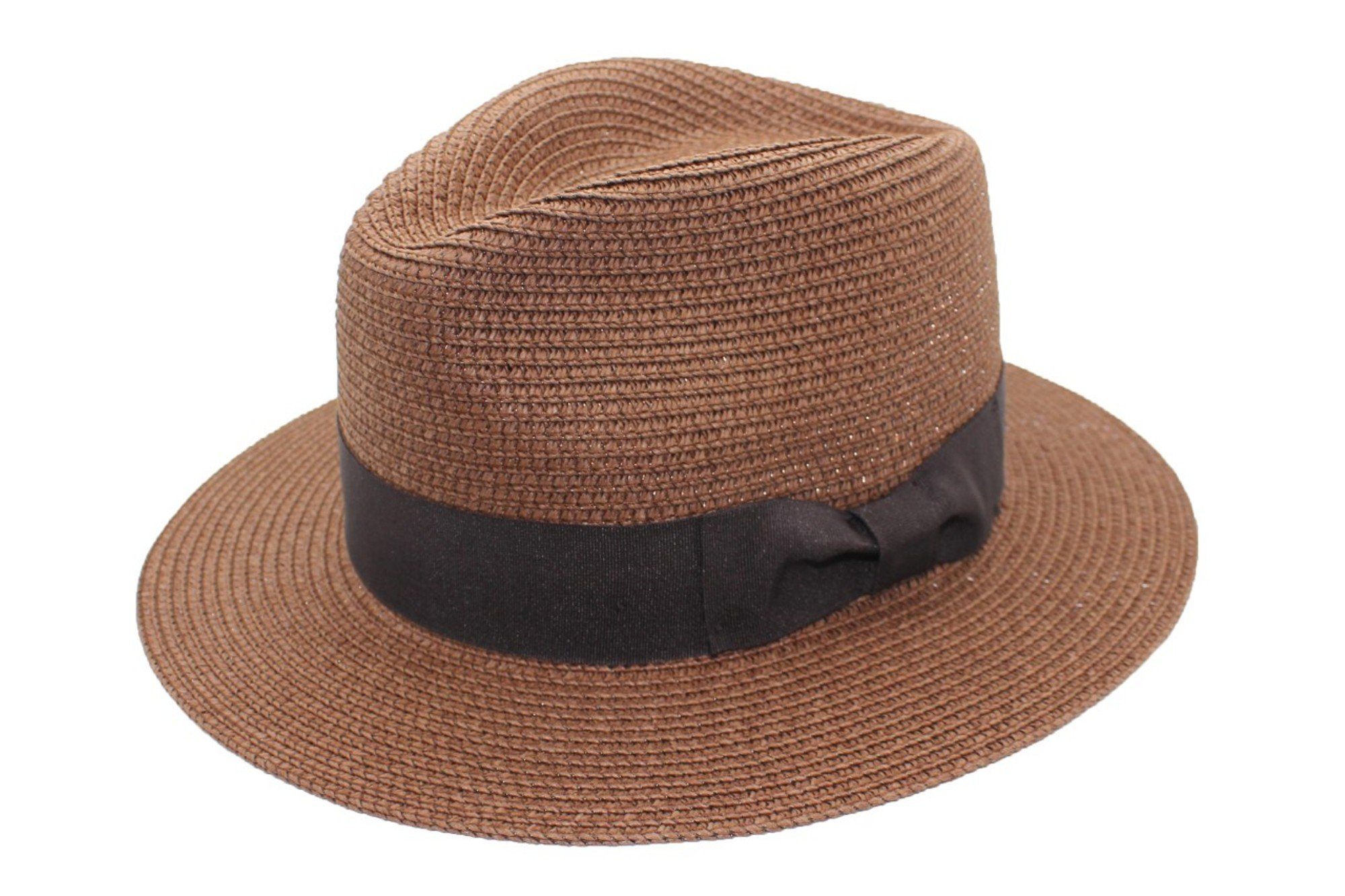 3f15e1dd61d MAZ Unisex Paper Straw Crushable Foldable Summer Panama Fedora Hat with Band  and Adjustable Sweatband in 8 Colours
