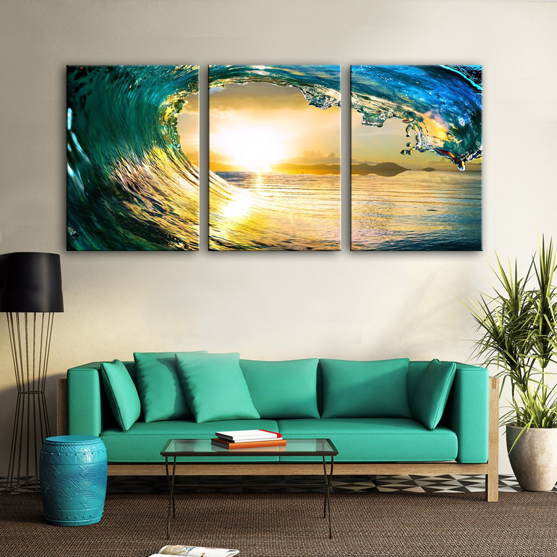 T&Q T&Qing 3PCS gestreckte Segeltuch-Kunst-Wellen in der Sonnenuntergang-Dekoration-Malerei, 35  50  3 B07KN3KPS2 | Klein und fein  | Elegantes und robustes Menü  | Neuheit