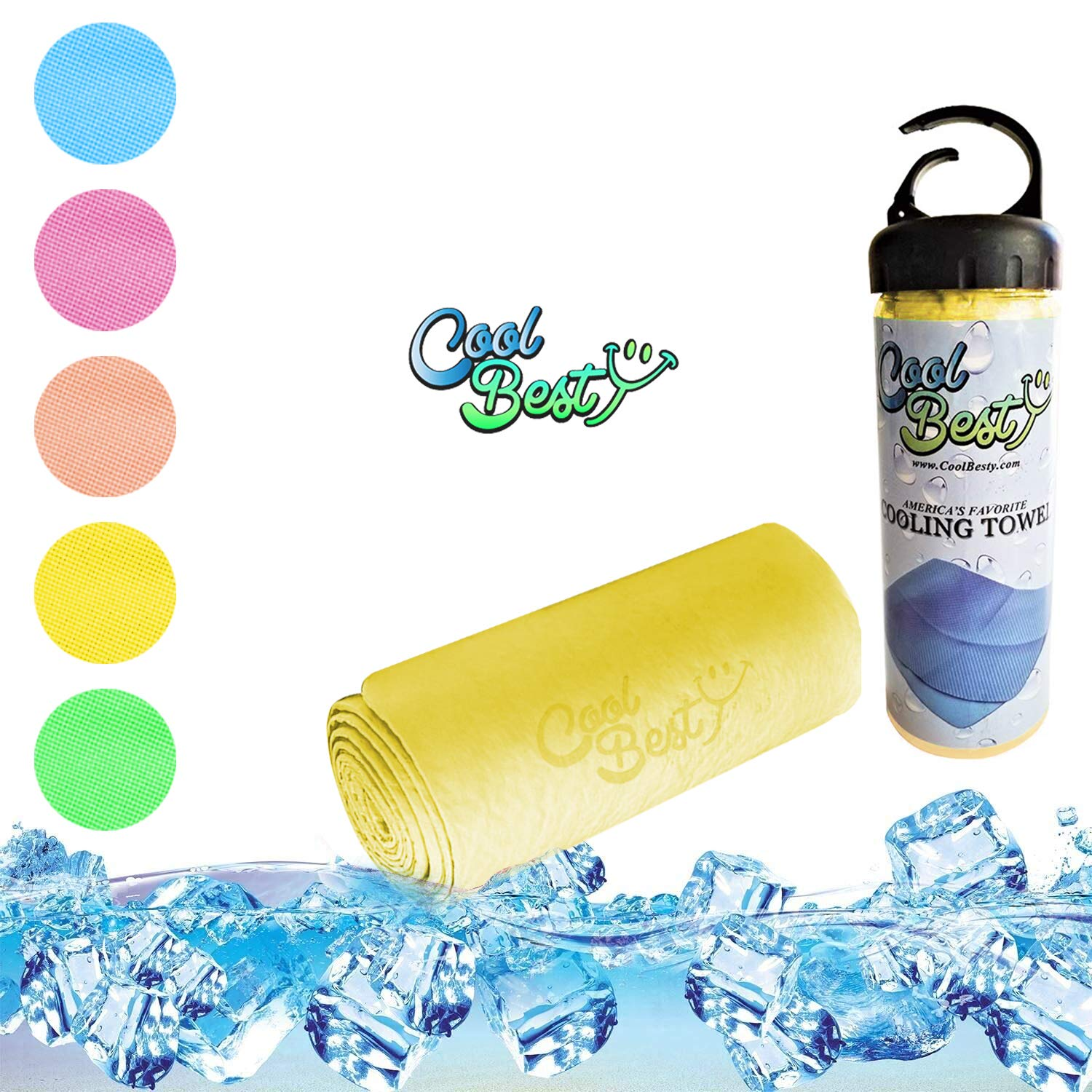 Cool Besty Cooling Towel - Workout/Tennis/Golf/Biking - Best for Any Sport Activities & Athletes Cold Towel - Chilly Pad Instant Cooling Snap Towel - Perfect for Fitness & Gym - Yellow