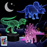 3D Dinosaur Night Light, VSATEN 3D Illusion Lamp Three Pattern and 7 Color Change Decor Lamp with Remote Control for Living Bed Room Bar Best Gift Toys (3 Packs) (Color: Dinosaur 3 Packs)