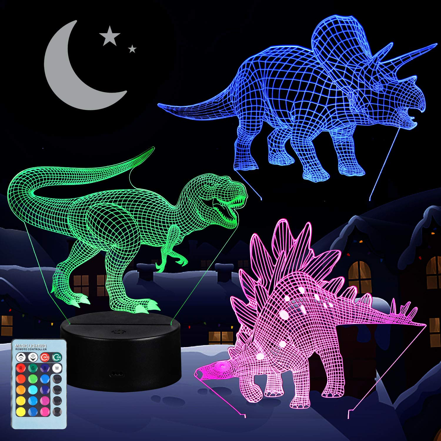 3D Dinosaur Night Light, VSATEN 3D Illusion Lamp Three Pattern and 7 Color Change Decor Lamp with Remote Control for Living Bed Room Bar Best Gift Toys (3 Packs) by VSATEN