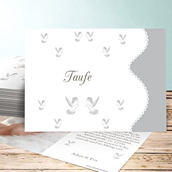 Einladung Taufe Basteln Reinweiß 10 Karten Horizontal Einfach 148x105 Inkl Weiße Umschläge Grau