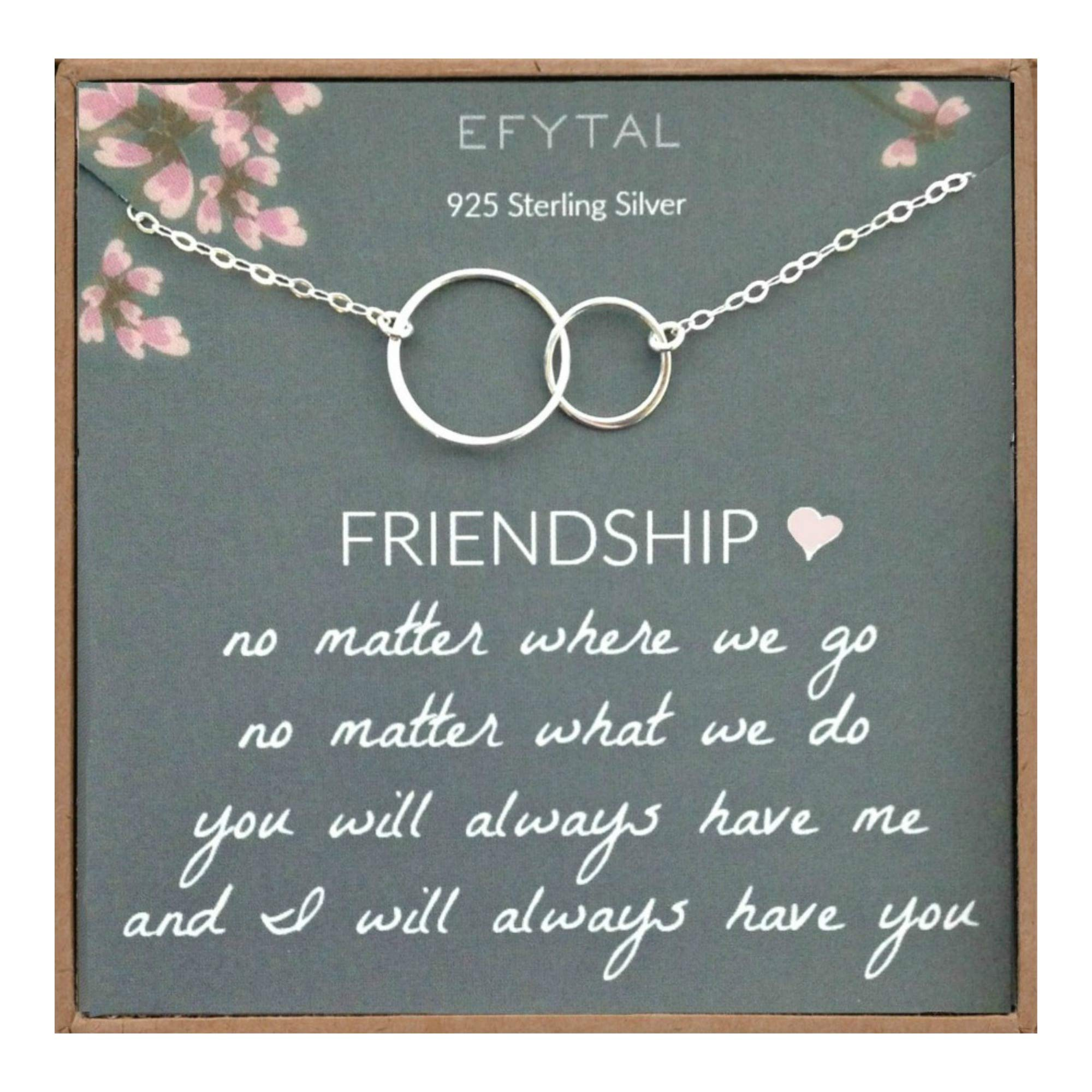 EFYTAL Best Friend Gifts Necklace, Sterling Silver Interlocking Circles, Bridesmaid Gift, Friendship Jewelry by EFYTAL