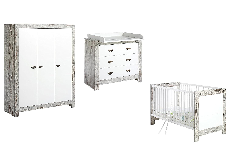 Schardt Kinderzimmer Nordic Chic - Bett, Wickelkommode, Schrank 3 türig