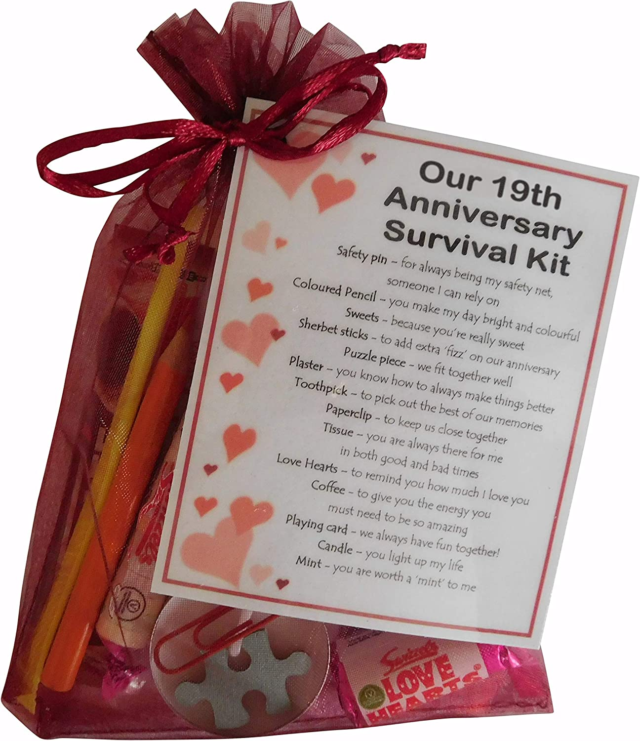 Great Novelty Present for Nineteenth Anniversary or Wedding Anniversary for Boyfriend, Girlfriend, Husband, Wife Smile Gifts UK 19th Anniversary Survival Kit Gift