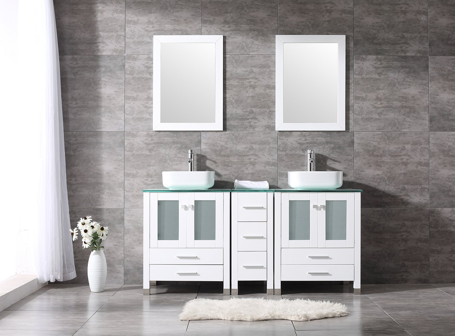 "Walcut 60"" Bathroom Vanity Cabinet with Double Square Vessel Sink Set"