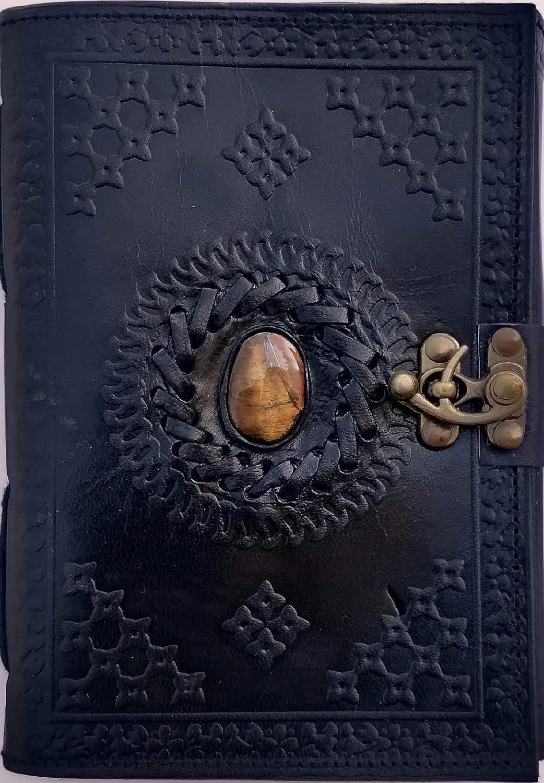 Urban Leather Black Tiger Eye Journal - Stone Studded Handmade Vintage Writing Notebook, Unlined
