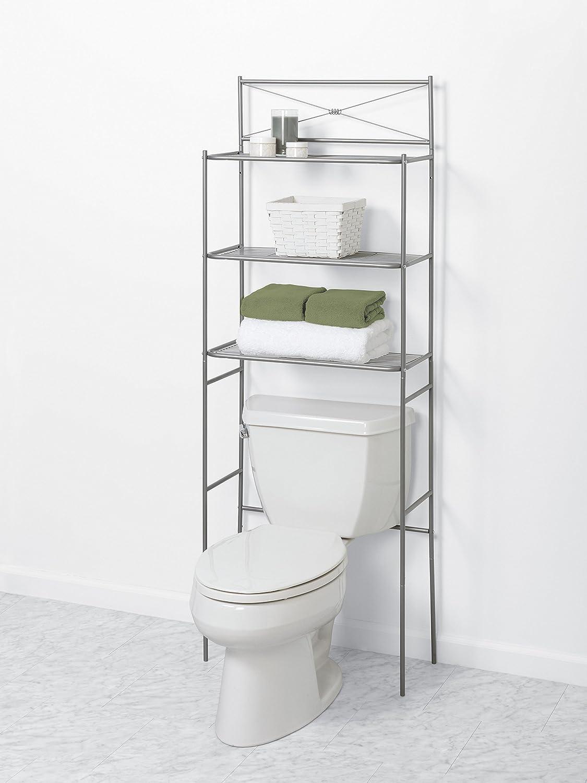 Zenna Home 2523nn Over The Toilet Storage 23 25 X 64 7 Satin Nickel Home Kitchen