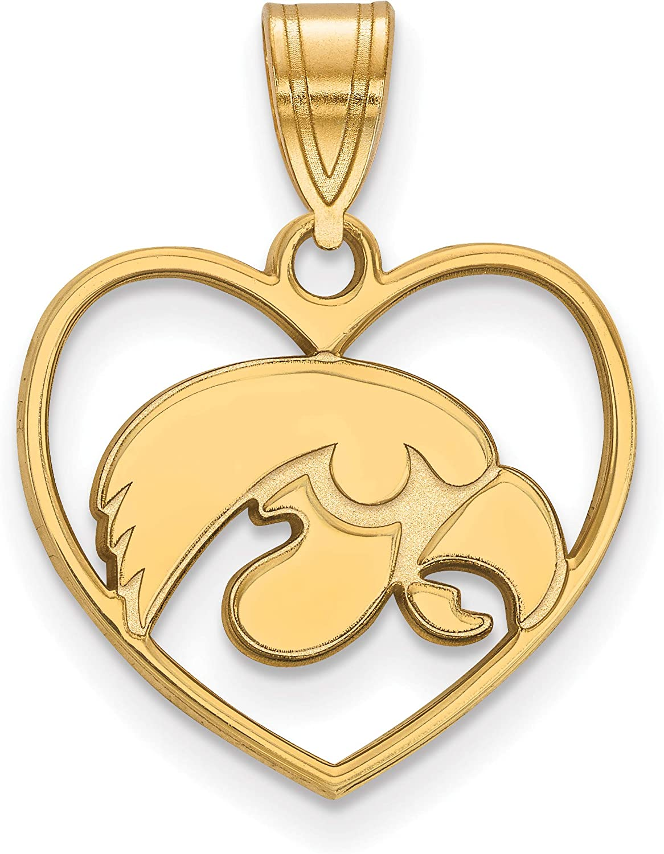 University of Iowa Hawkeyes School Mascot Inside Heart Shaped Pendant in Gold Plated Sterling Silver 15x17mm