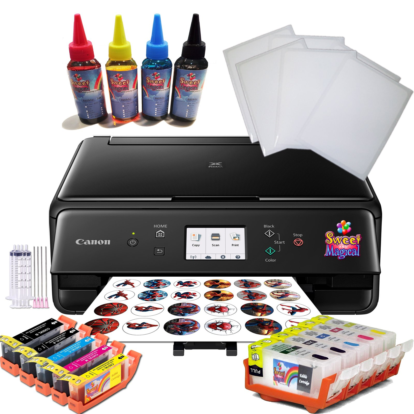 Edible Printer Bundle Value- Comes with Refillable Edible Ink Cartridges, 6 Frosting Sheets,400 ml Edible Ink, Refillables Edible Cleaning cartridges