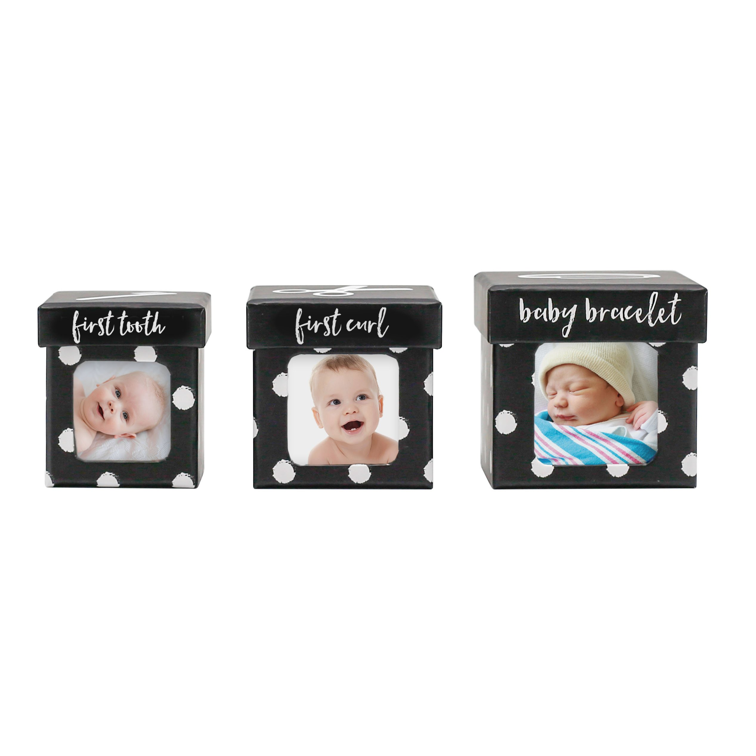 Tiny Ideas Keepsake Boxes, Perfect Nursery Décor and Keepsake Box Set, Black Dots by Tiny Ideas