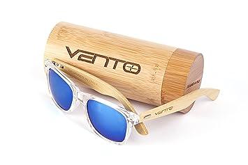 Vento Eyewear® Modelo Chinook Ice&Green - Gafas de Sol de Madera de bambú, diseñadas en Italia con certificados CE y protección UV400, Marco ...