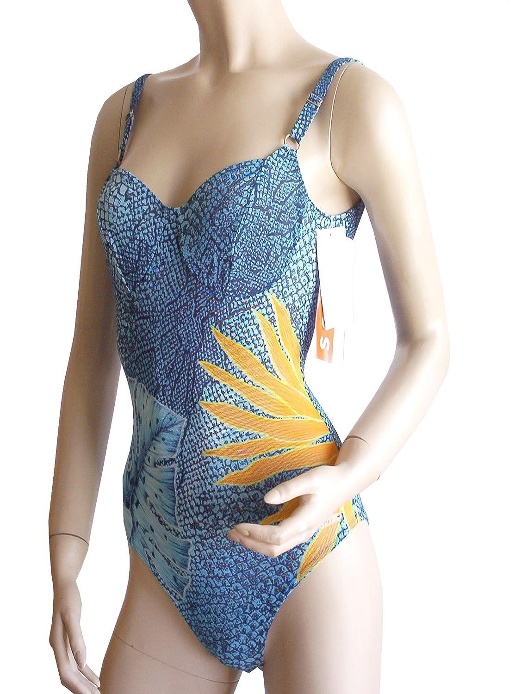 Solar Tan Thru Bügel-Badeanzug blau/orange, Gr. 38 C-Cup