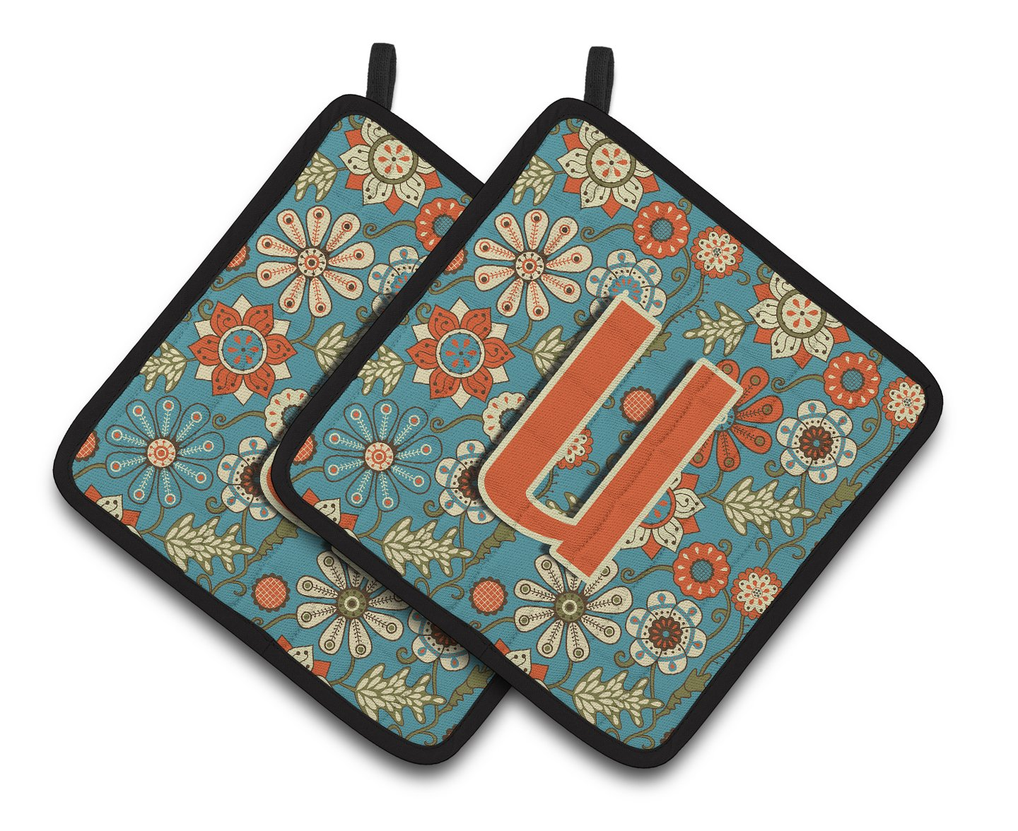 Multicolor 7.5HX7.5W Carolines Treasures Letter U Flowers Retro Blue Pair of Pot Holders CJ2012-UPTHD