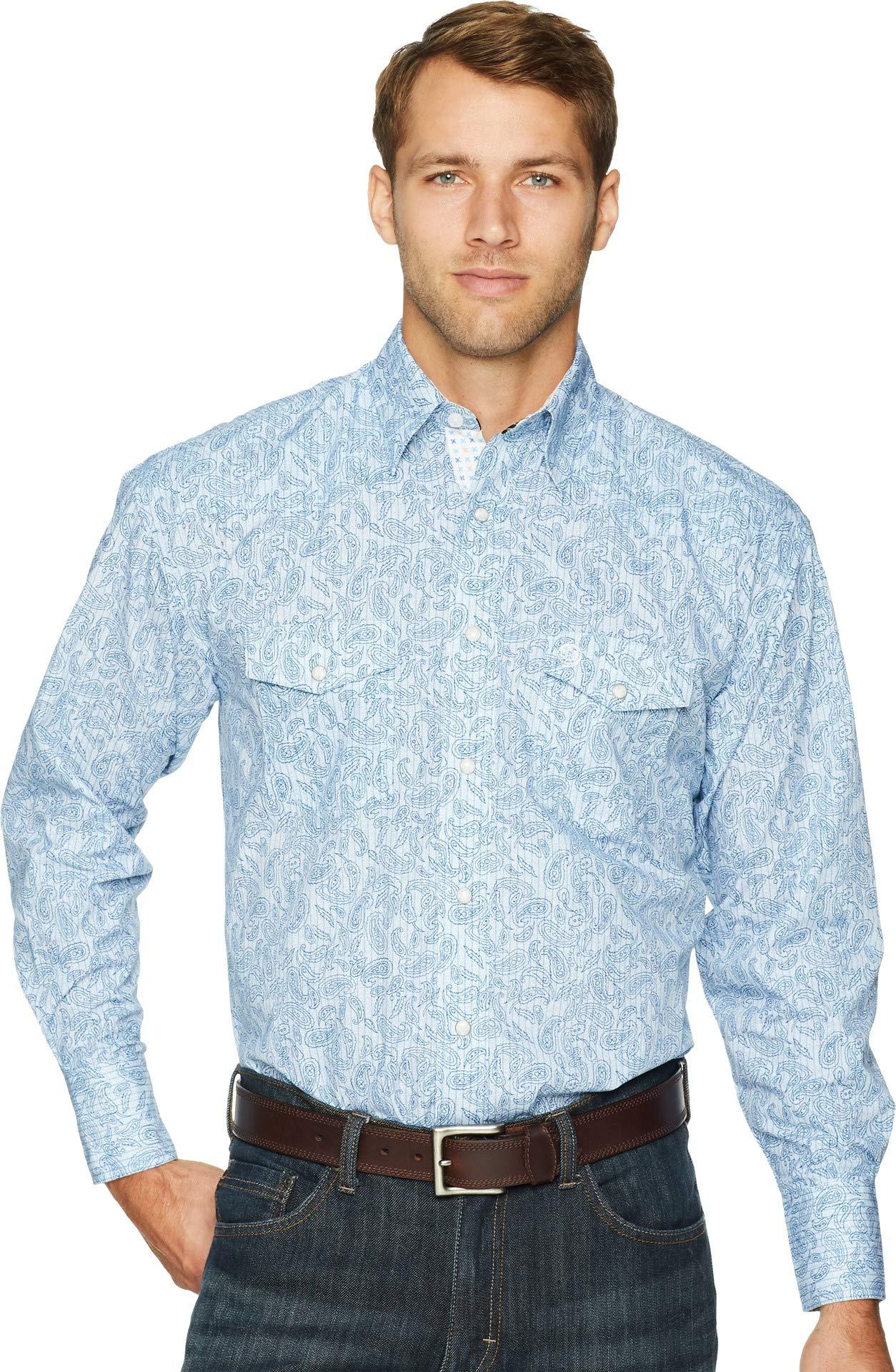 Wrangler Men's George Strait Blue Paisley Print Shirt Blue Large