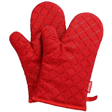 AICOK Oven Mitts, Kitchen Cooking Gloves, Non-Slip Silicone Grid Cotton Baking Gloves, Red Heat Resistant Kitchen Gloves (Fabric Lining/Inner Cotton Layer), 1 Pair