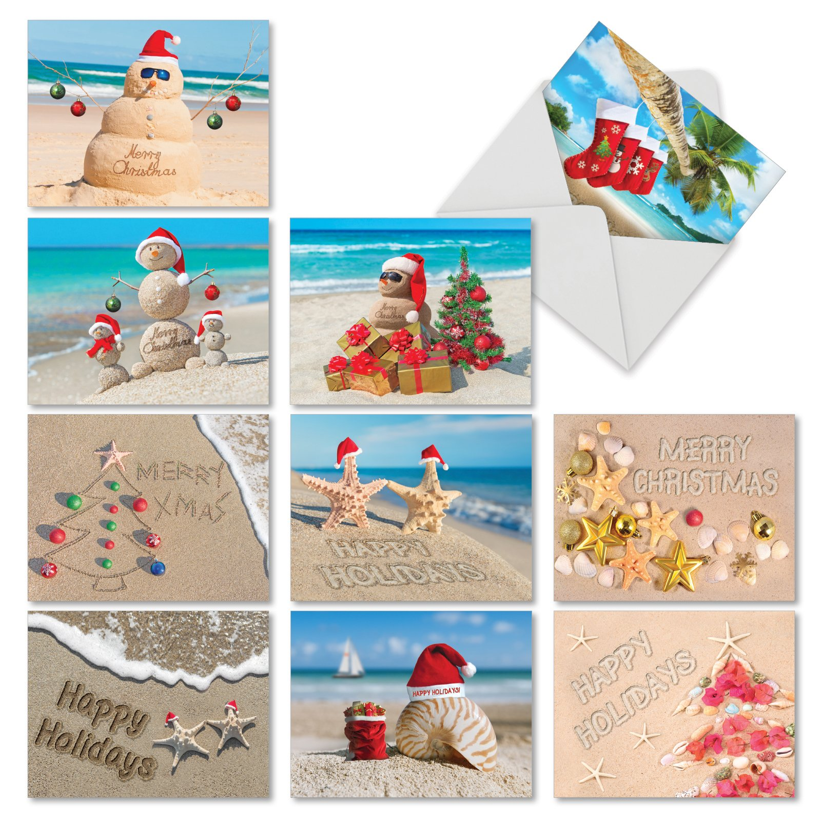 Amazon.com: Ultimate Beach Christmas Card Variety Pack - 36 Beach ...