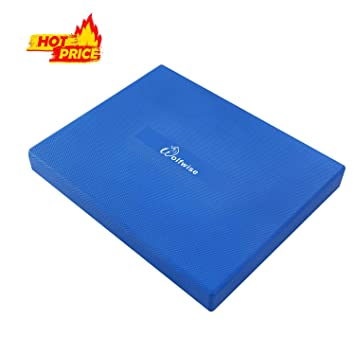 WolfWise PU Balance Pad Fitness Exercise Mat 19.3×15.2×3 in, Blue