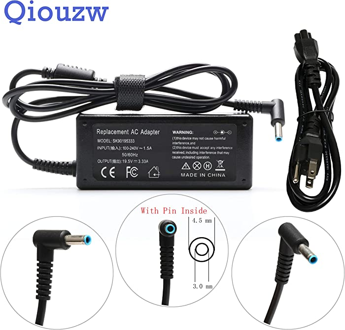 19.5V 3.33A 65W AC Adapter Laptop Charger for HP ProBook 640 G2,650 G2,430 G3,440 G3,450 G3,455 G3,470 G3; P/N: H6Y89AA PA-1900-32HE PPP009C PPP012D-S PPP012L-E PA-1450-56HA Power Supply Cord