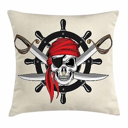 Funda de cojín con diseño de calavera, calavera pirata con ...