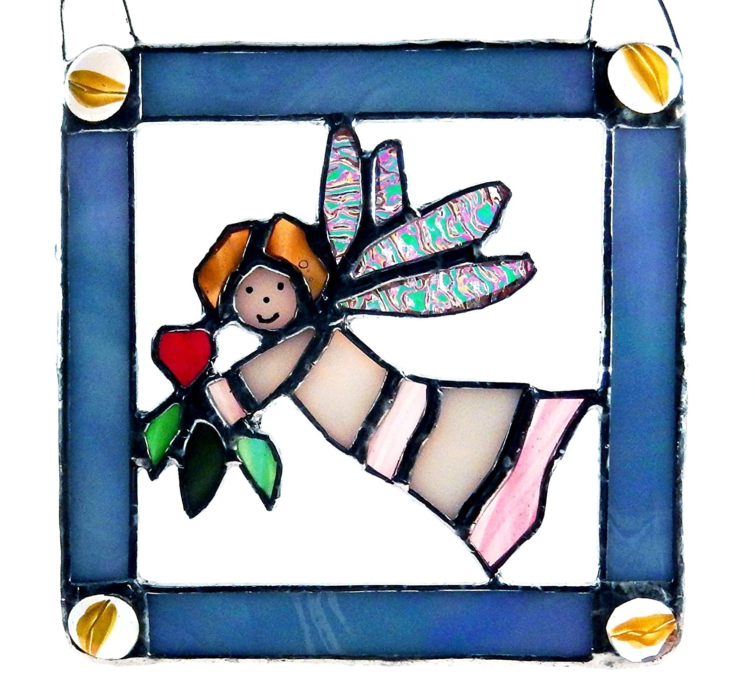 Stained Glass Angel, red heart and green Leaves, dichroic glass wings, yellow glass jewels, light blue frame, Blonde Hair