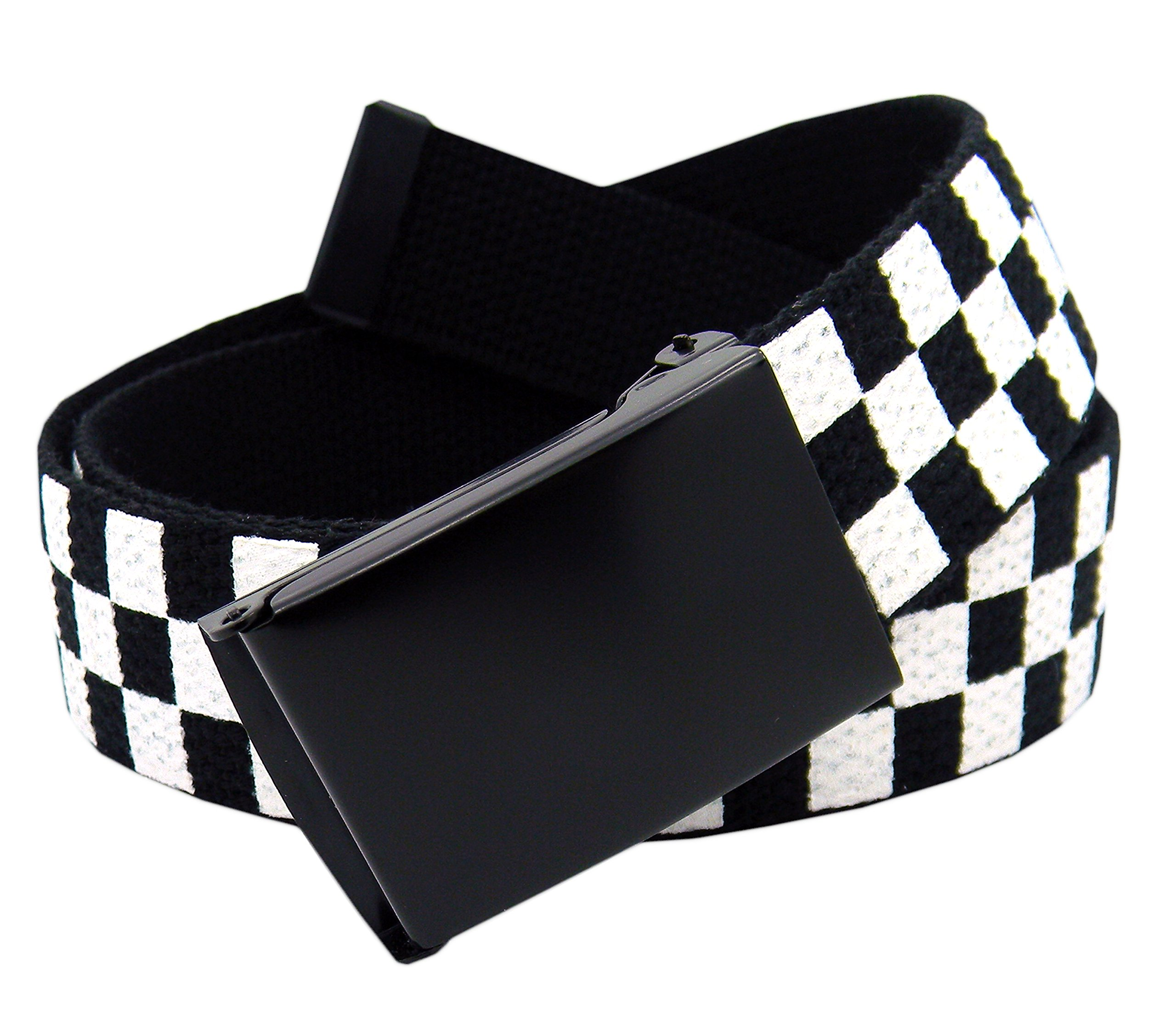 Women's Black Flip Top Military Belt Buckle with Canvas Web Belt X-Large Checkered
