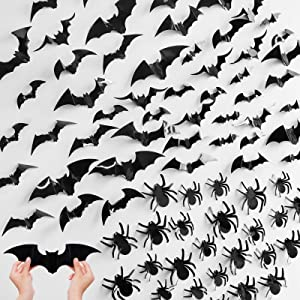 Ivenf Halloween Decorations Spider Bat Wall Decals Stickers Decor 100 Pack, Extra Large 3D Spiders Bats Window Decals, Spider Bat Halloween Indoor Decor
