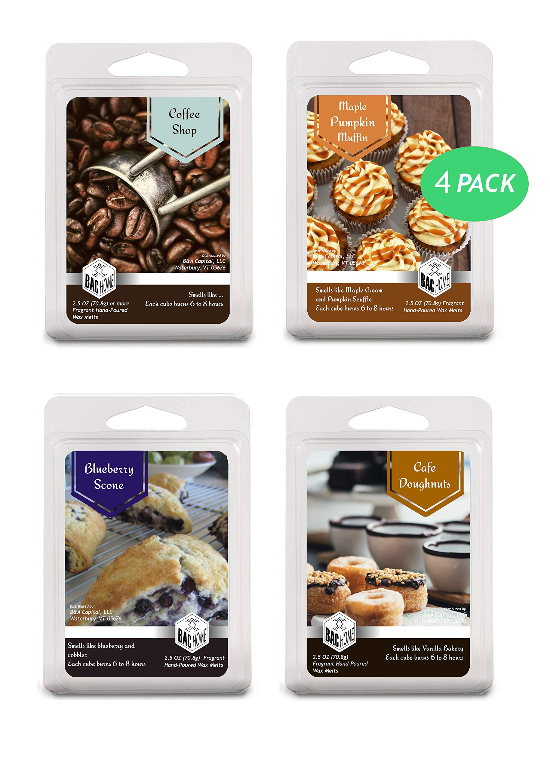 4 Pack - Cafe Bakery Soy Blend Scented Wax Melts Wax Cubes, 10.0 oz, [24 Cubes] with Coffee Shop, Blue Berry Scone, Maple Pumpkin Muffin and Cafe Doughnuts by BAC Home (Image #1)