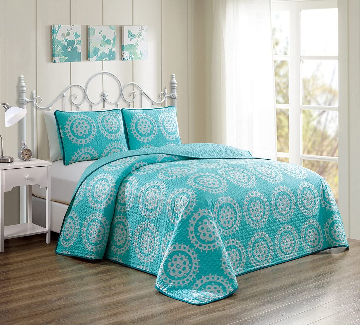 GrandLinen 3 Piece Turquoise BlueWhite Scroll Fine printed Prewashed Quilt Set Reversible Bedspread Coverlet FULL/QUEEN SIZE Bed Cover
