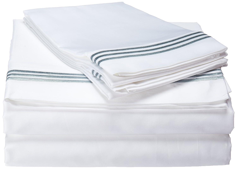 Full Echelon Home Three Line Hotel Collection Sheet Set Silver Blue 300 HTL FULL BLU
