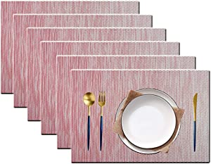 pigchcy Elegant Placemats Set of 6 Thicker Wave Woven Heat-Resistant Placemats Washable Easy to Clean Table Mats for Dining Room and Decor (Gradient Red)