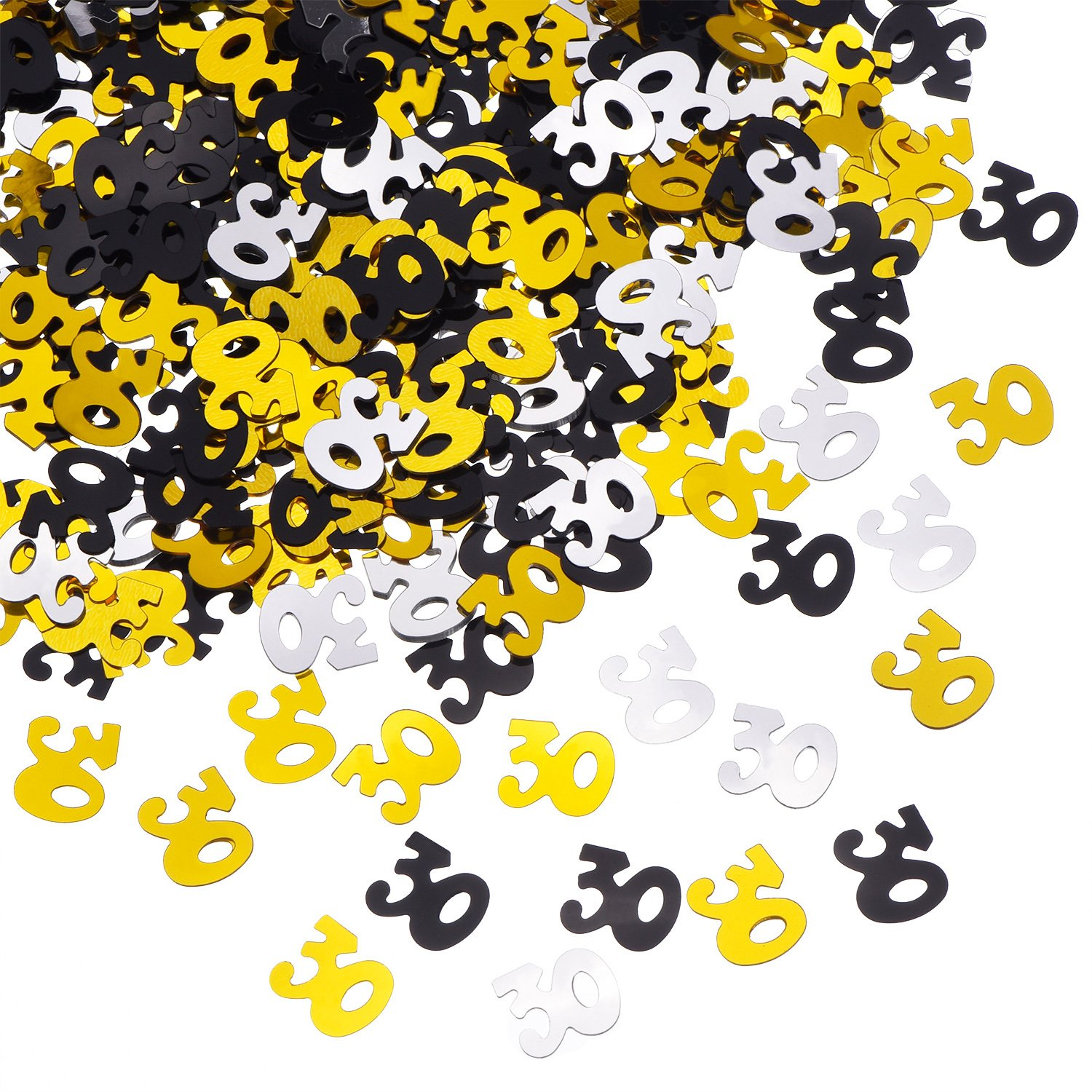 Number 30 Glitter Confetti for 30th Birthday Anniversary Party Supplies Table Decoration, 50 g (1.76 Ounce) Shappy