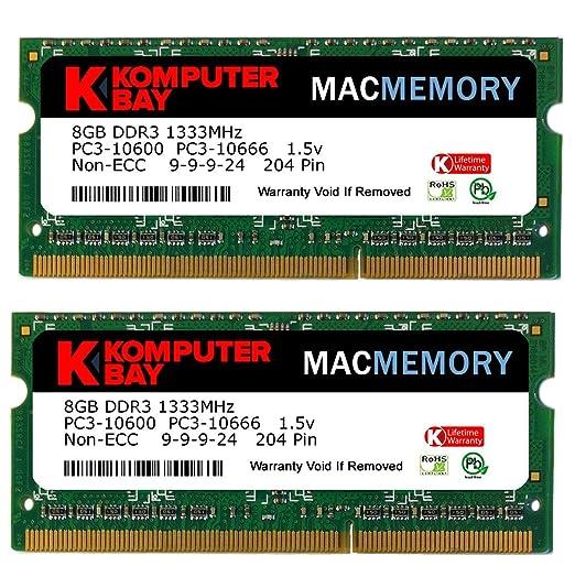 583 opinioni per Komputerbay PC3-10600 16GB (2x 8GB) 204-Pin 1333MHz SODIMM computer portatile