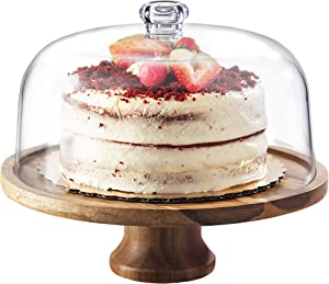 Godinger Cake Stand, Footed Cake Platter Server with Dome, Acaciawood and Shaterproof Acrylic Lid