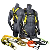 KwikSafety (Charlotte, NC) SUPERCELL KIT | 3D Full Body Tongue Buckle Safety Harness, 6' Lanyard, Tool Lanyard, 3' Anchor ANSI OSHA PPE Fall Protection Arrest Restraint Equipment Construction Roofer (Color: Harness + Lanyard + Anchor Strap + Tool Lanyard, Tamaño: KIT (SAVE $10))