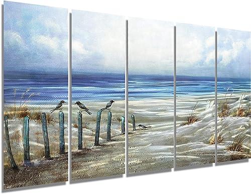 Brilliant Arts Large Ocean Beach Metal Wall Art Blue Nautical Artwork Perching Bird