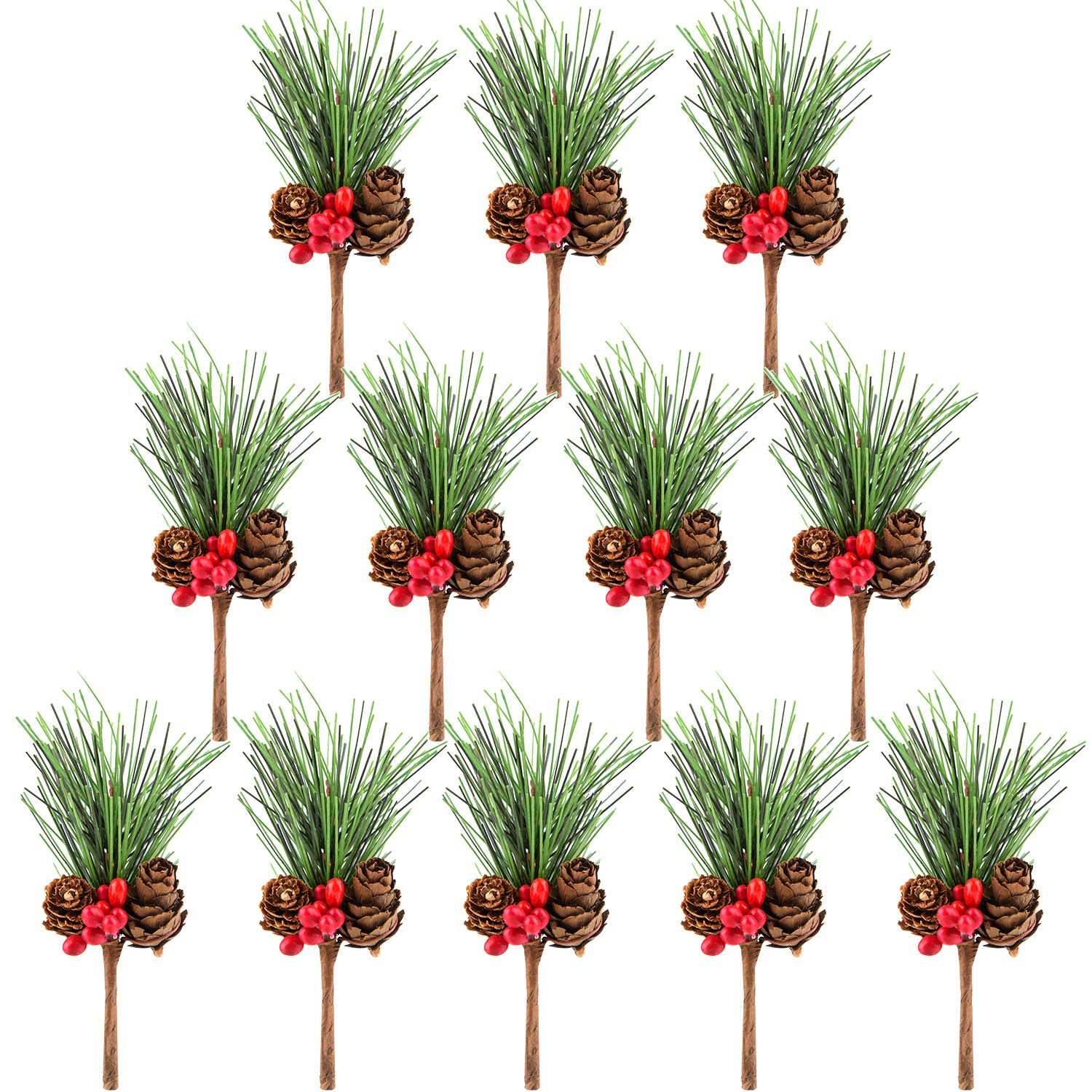 TUPARKA 12 PCS Artificial Pine Cone Picks Decor Holly Berry Stems Picks for Christmas Flower Arrangements Wreaths Decorations and Holiday Crafts and Floral Projects Decorations