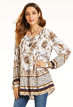 SONJA BETRO Women's Printed Rayon Lacing Front Pintuck Tunic Plus Size