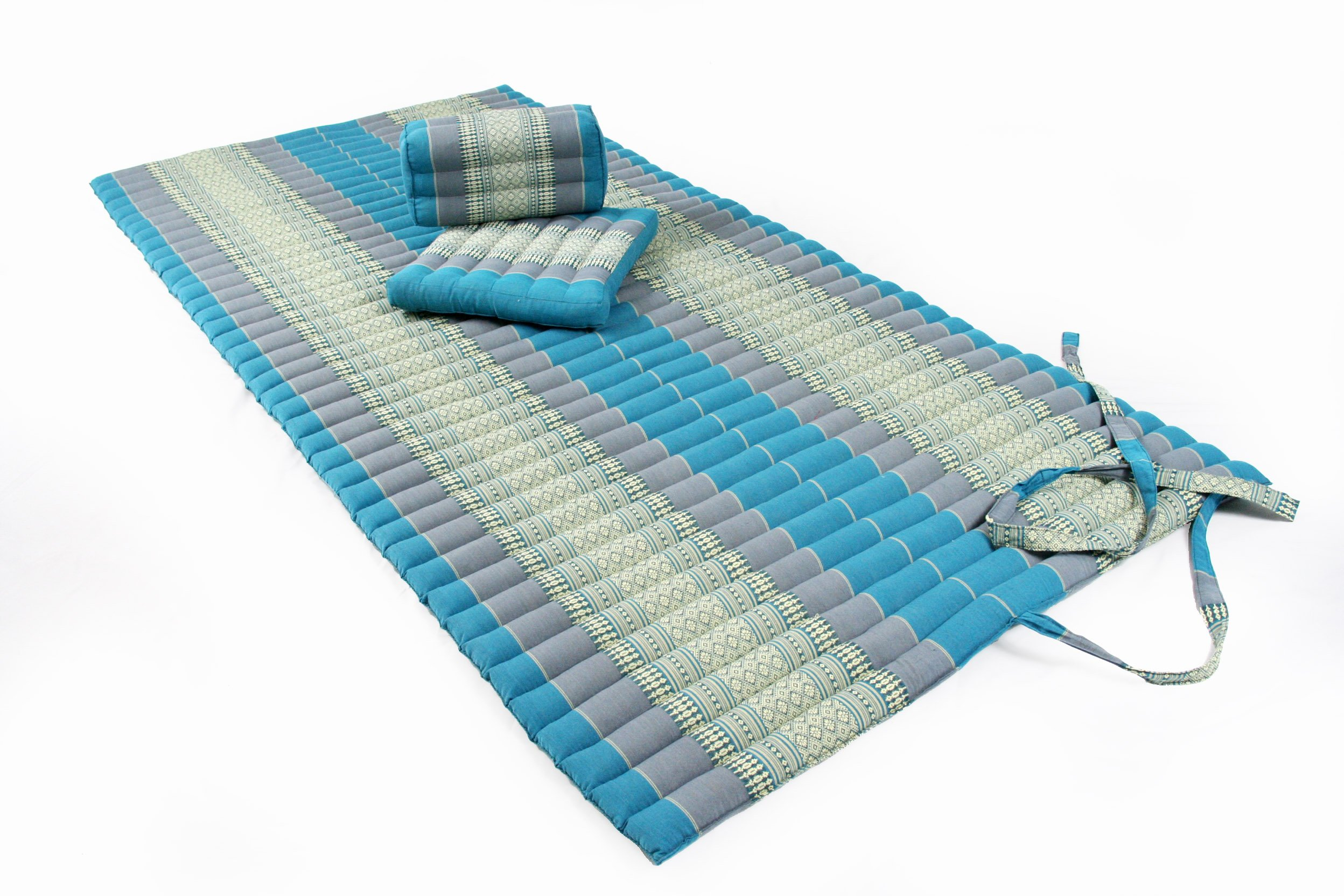 Yogaset I: Rollmat + 2 Cushions, All Filled with 100% Natural Kapok, Thai Traditional Design Skyblues by Handelsturm